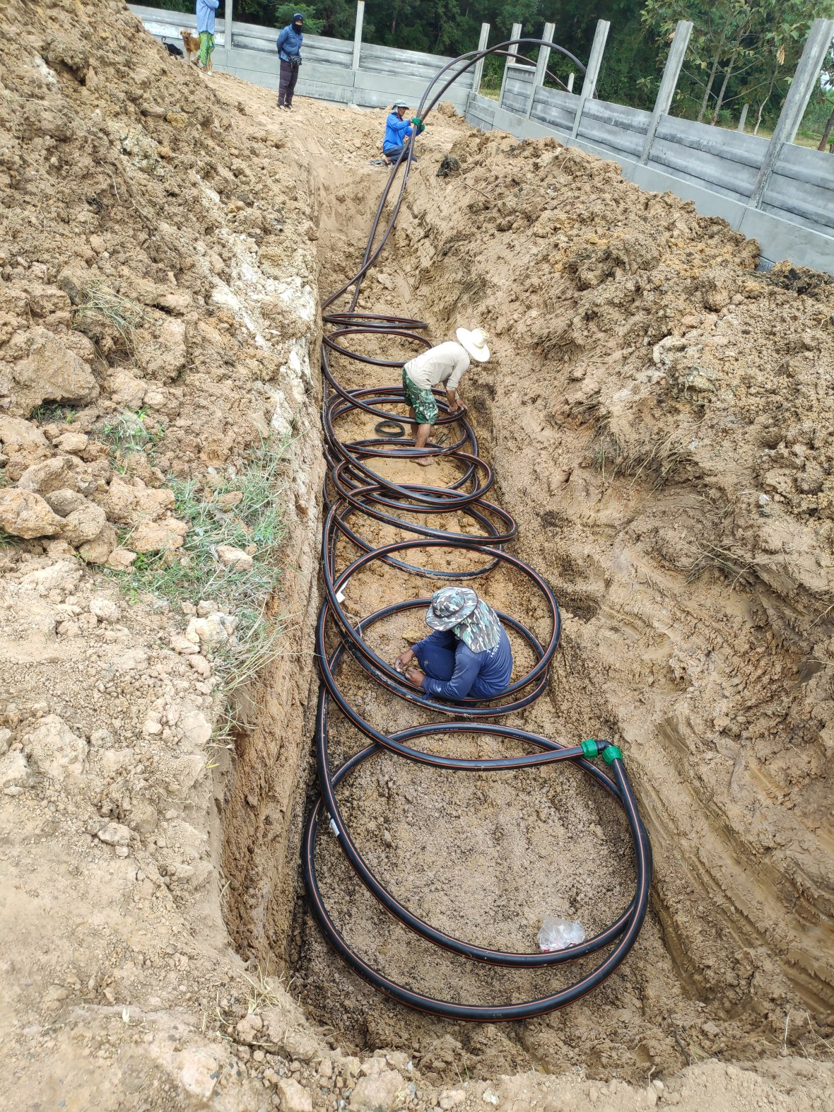 Laying Geothermal Pipes - 100m buried 3m